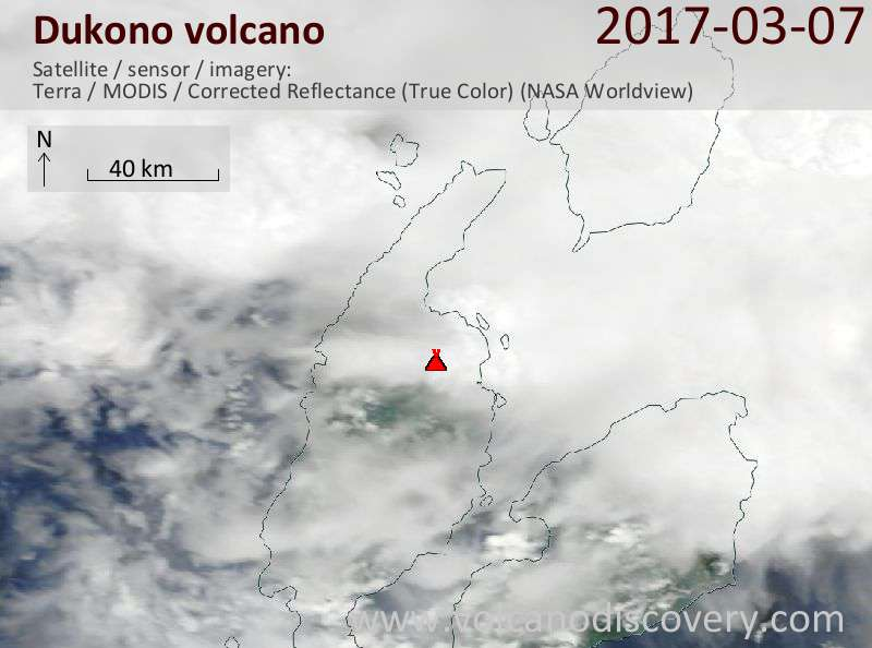 Satellite image of Dukono volcano on  8 Mar 2017