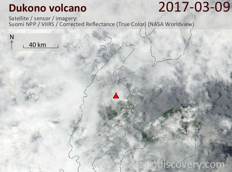 Satellite image of Dukono volcano on  9 Mar 2017