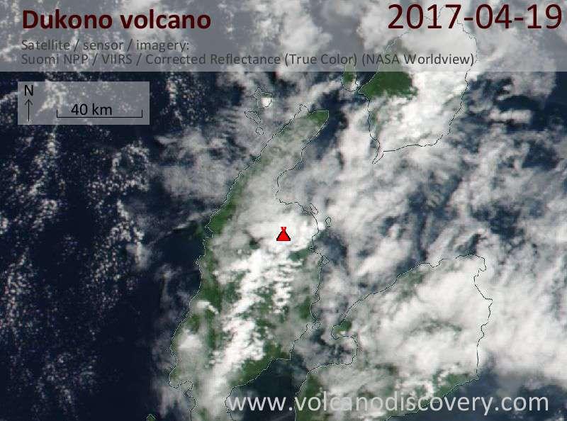 Satellite image of Dukono volcano on 19 Apr 2017