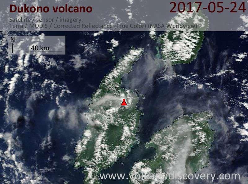 Satellite image of Dukono volcano on 24 May 2017