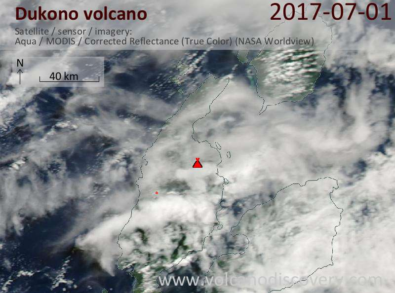 Satellite image of Dukono volcano on  1 Jul 2017
