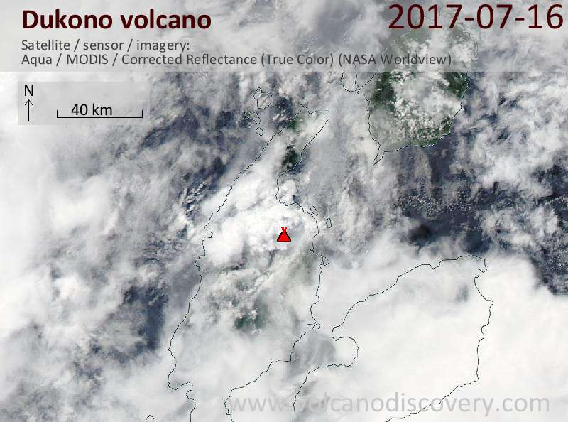Satellite image of Dukono volcano on 16 Jul 2017