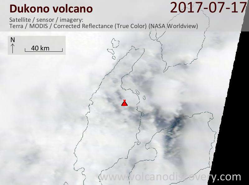 Satellite image of Dukono volcano on 17 Jul 2017