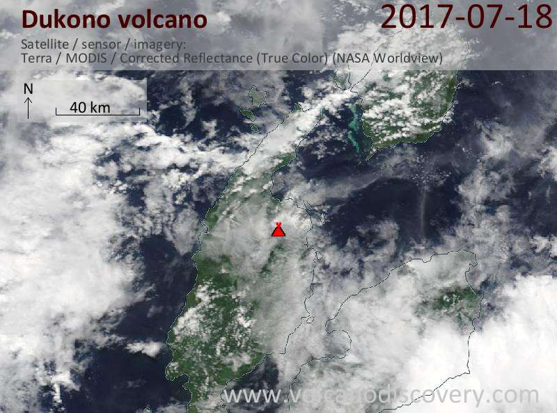 Satellite image of Dukono volcano on 18 Jul 2017