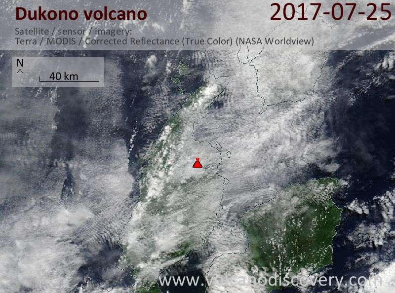 Satellite image of Dukono volcano on 25 Jul 2017