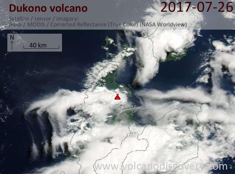 Satellite image of Dukono volcano on 26 Jul 2017