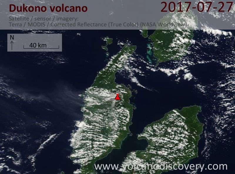 Satellite image of Dukono volcano on 27 Jul 2017
