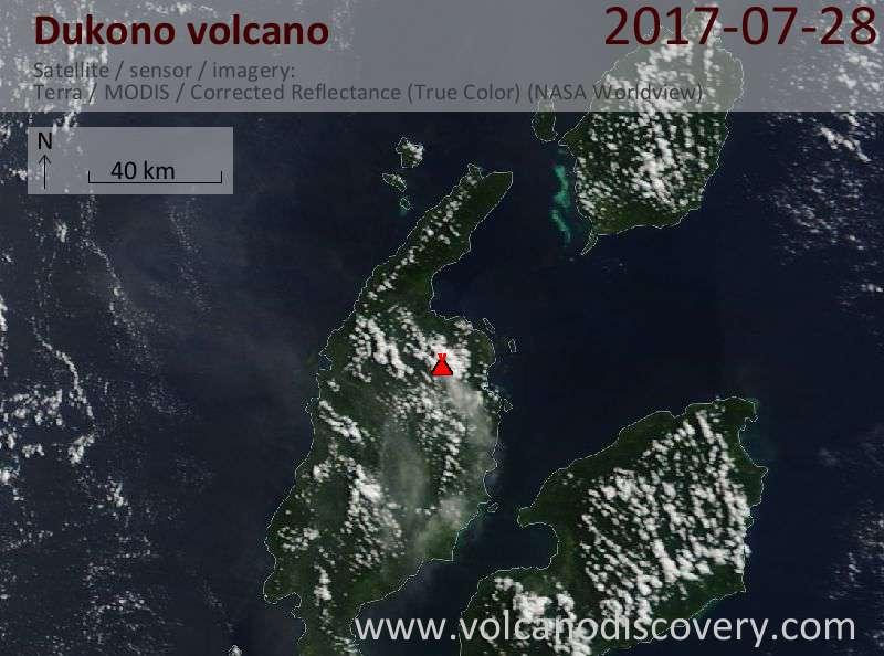 Satellite image of Dukono volcano on 28 Jul 2017
