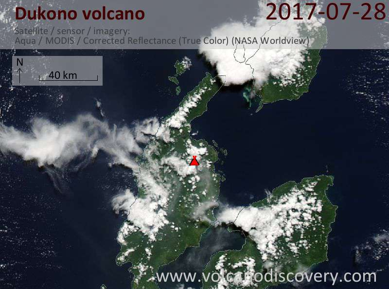 Satellite image of Dukono volcano on 29 Jul 2017