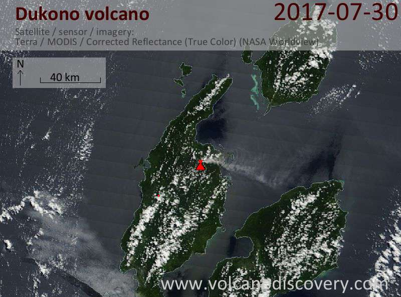 Satellite image of Dukono volcano on 30 Jul 2017