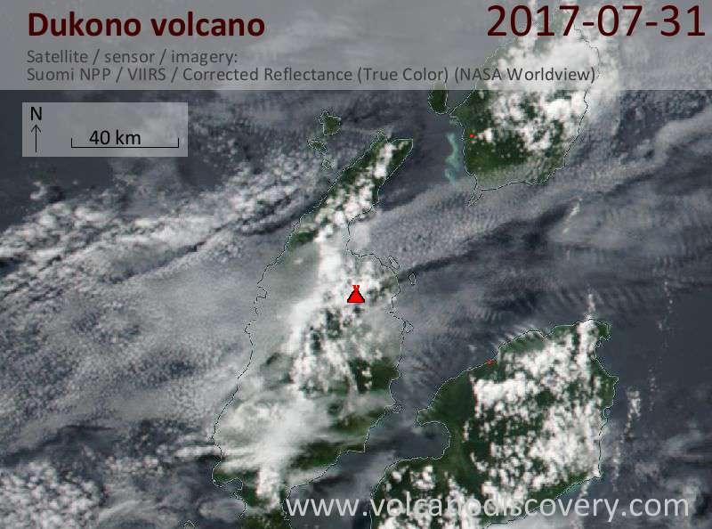 Satellite image of Dukono volcano on 31 Jul 2017