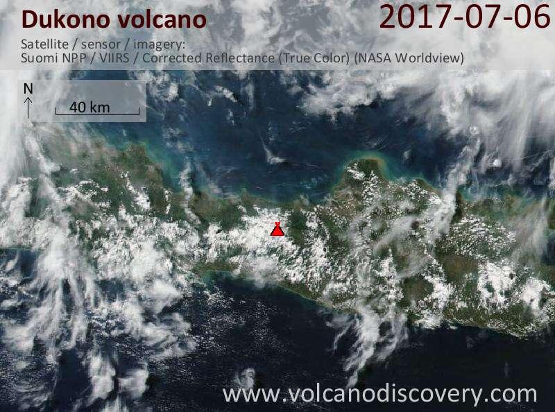 Satellite image of Dukono volcano on  6 Jul 2017