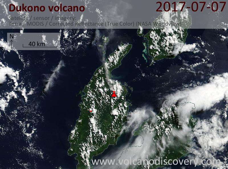 Satellite image of Dukono volcano on  7 Jul 2017