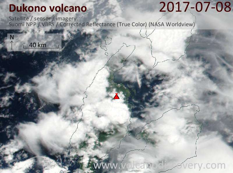 Satellite image of Dukono volcano on  8 Jul 2017