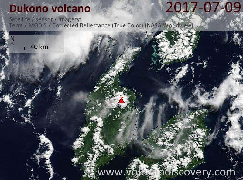 Satellite image of Dukono volcano on  9 Jul 2017