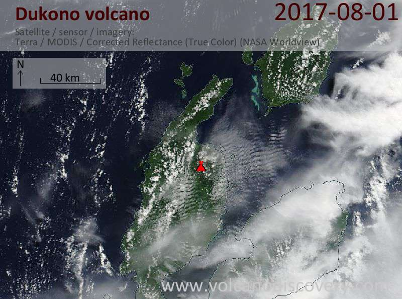 Satellite image of Dukono volcano on  1 Aug 2017