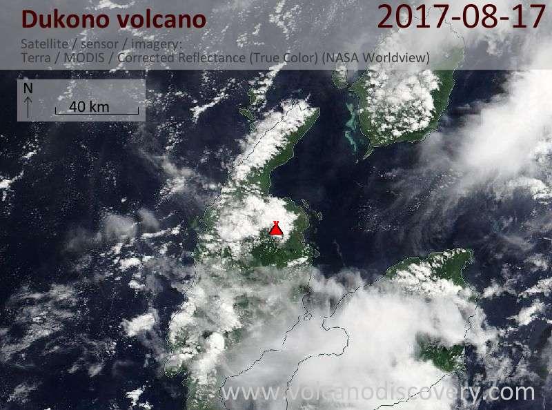 Satellite image of Dukono volcano on 17 Aug 2017