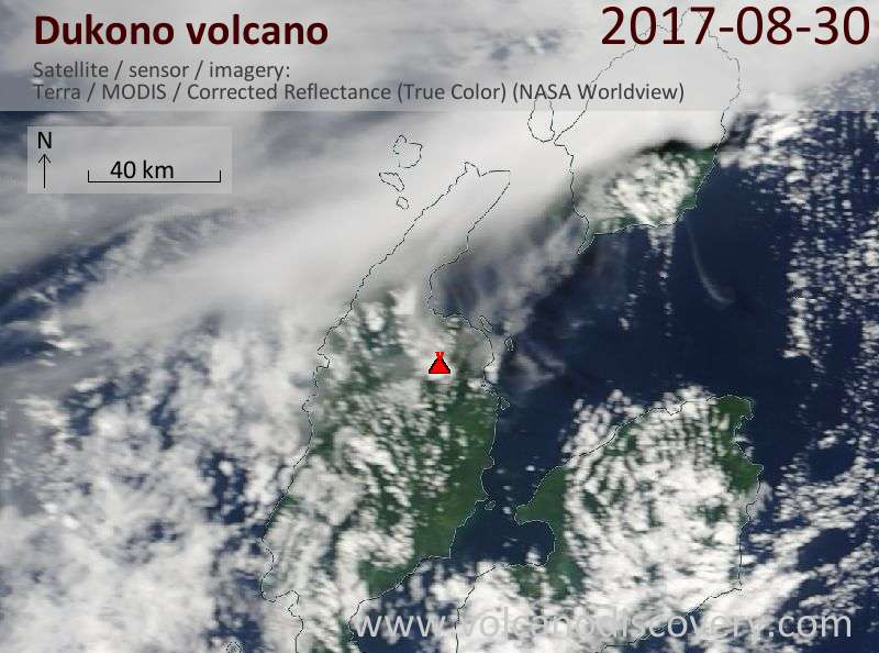 Satellite image of Dukono volcano on 30 Aug 2017