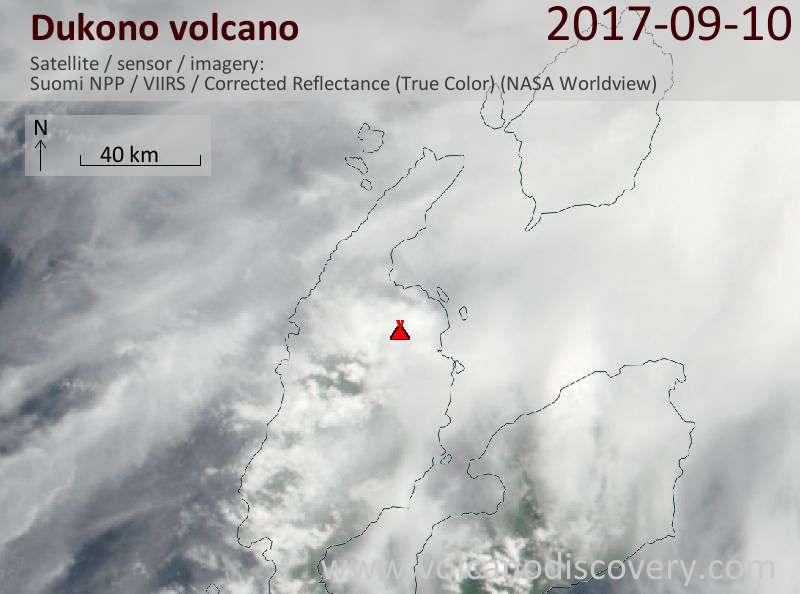 Satellite image of Dukono volcano on 10 Sep 2017