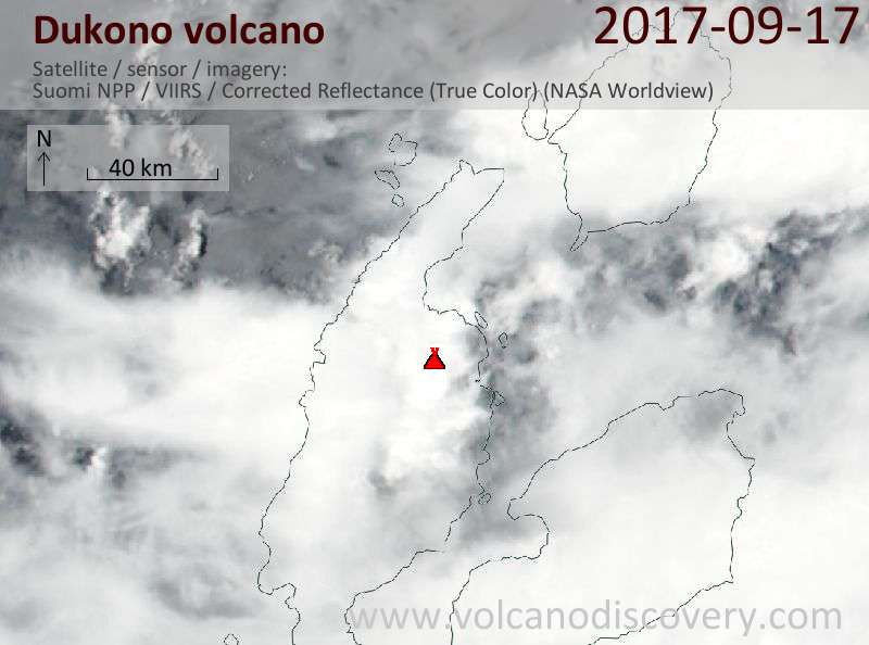 Satellite image of Dukono volcano on 17 Sep 2017