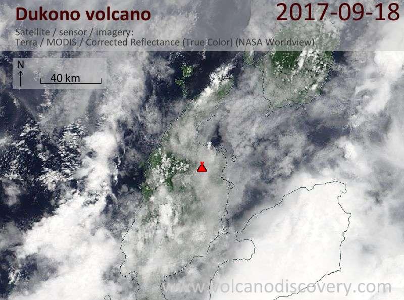 Satellite image of Dukono volcano on 18 Sep 2017