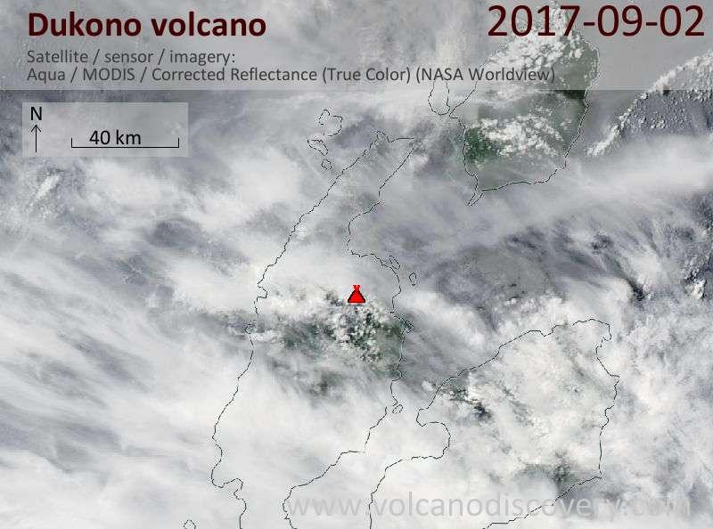Satellite image of Dukono volcano on  2 Sep 2017