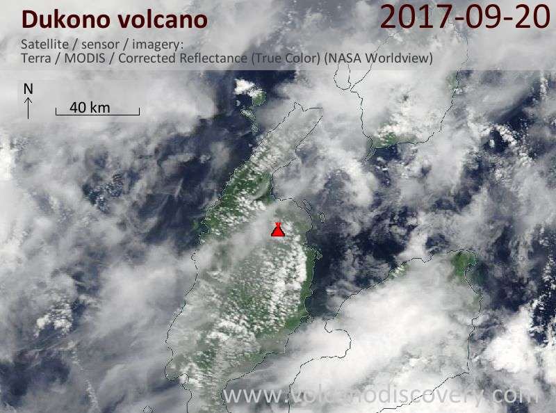 Satellite image of Dukono volcano on 20 Sep 2017