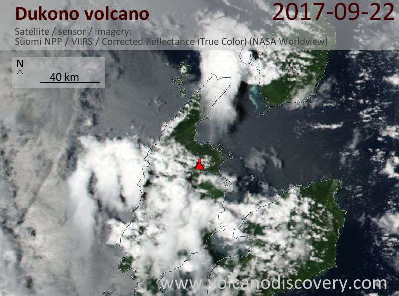 Satellite image of Dukono volcano on 22 Sep 2017