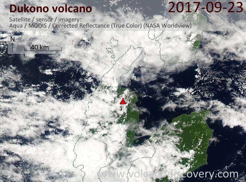 Satellite image of Dukono volcano on 23 Sep 2017