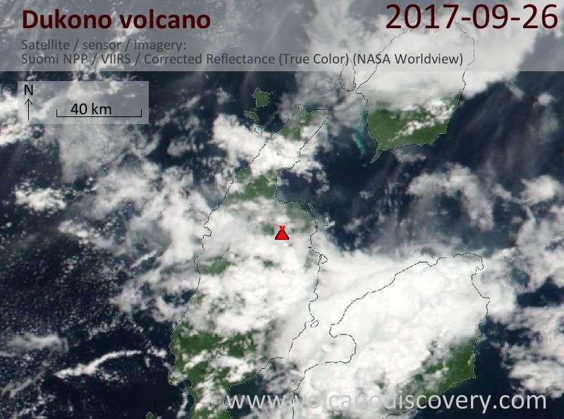 Satellite image of Dukono volcano on 26 Sep 2017