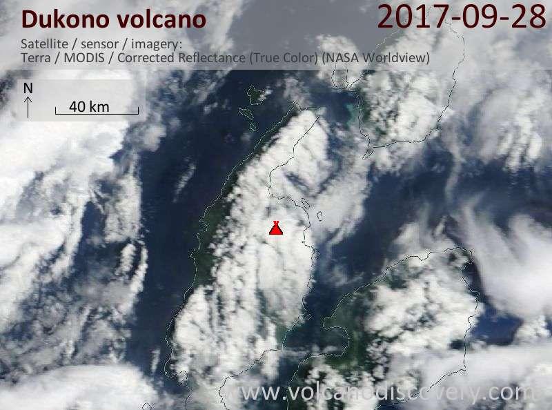 Satellite image of Dukono volcano on 28 Sep 2017