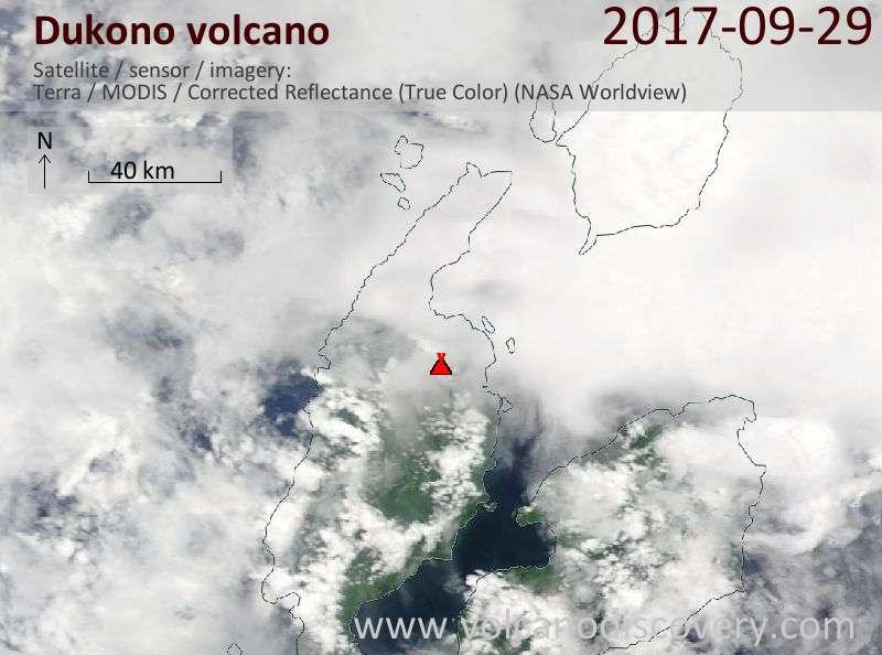 Satellite image of Dukono volcano on 29 Sep 2017