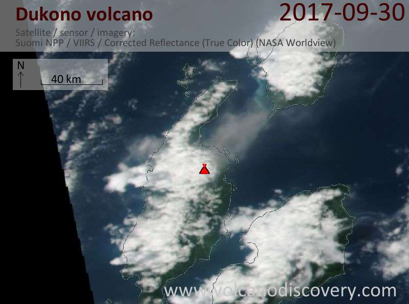 Satellite image of Dukono volcano on 30 Sep 2017