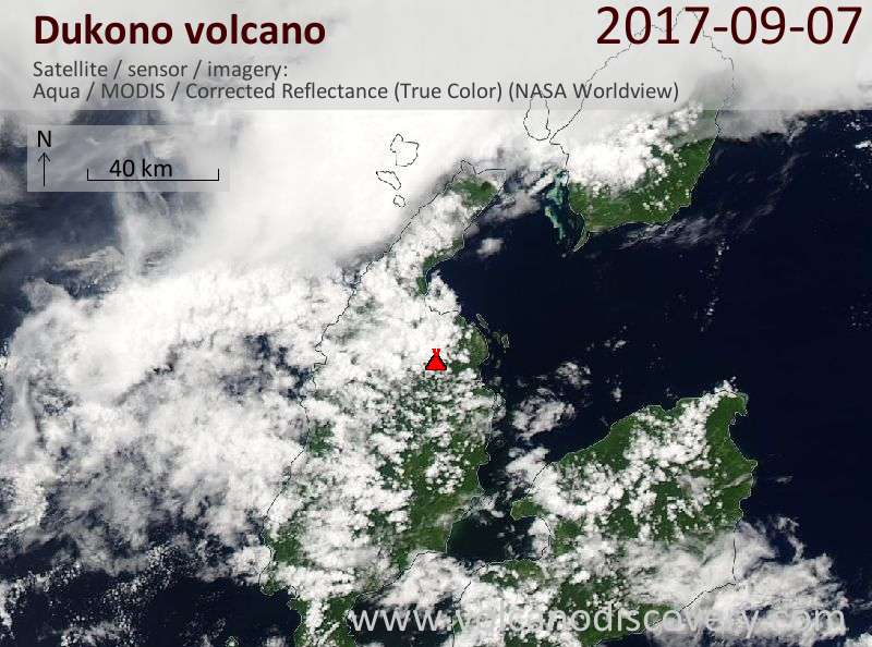 Satellite image of Dukono volcano on  7 Sep 2017