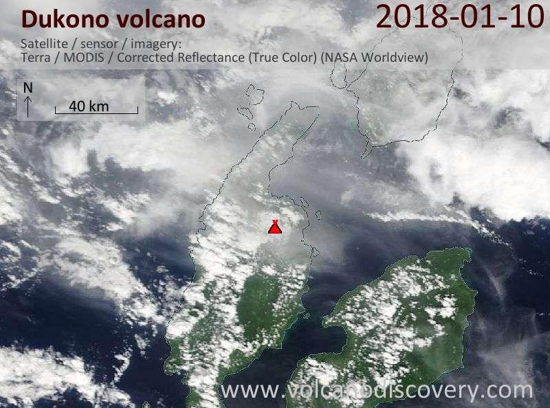 Satellite image of Dukono volcano on 10 Jan 2018