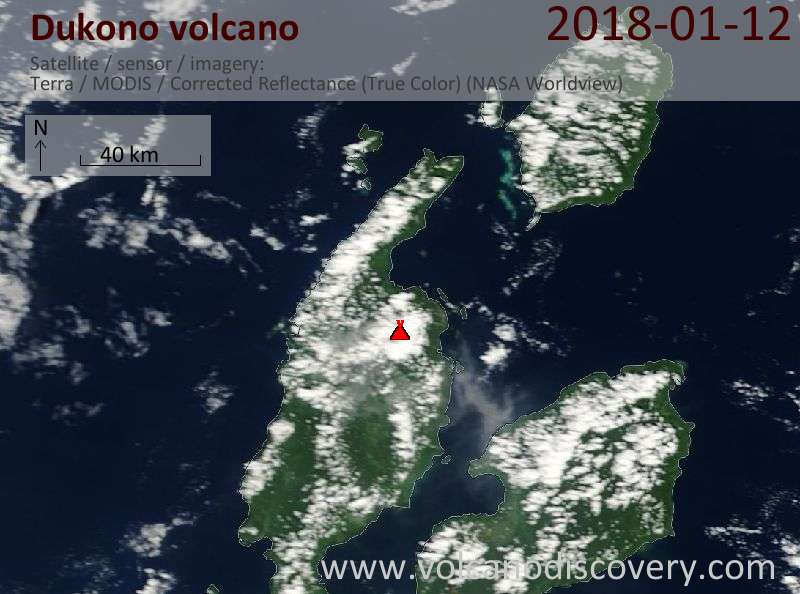 Satellite image of Dukono volcano on 12 Jan 2018