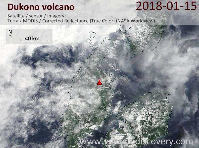 Satellite image of Dukono volcano on 15 Jan 2018