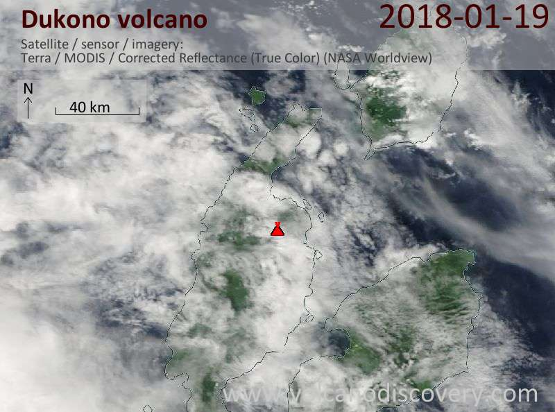 Satellite image of Dukono volcano on 19 Jan 2018