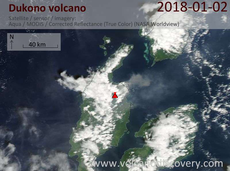 Satellite image of Dukono volcano on  2 Jan 2018