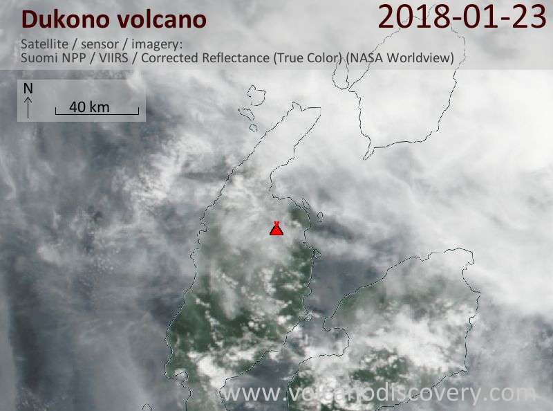 Satellite image of Dukono volcano on 23 Jan 2018