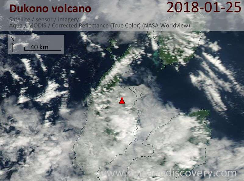 Satellite image of Dukono volcano on 25 Jan 2018