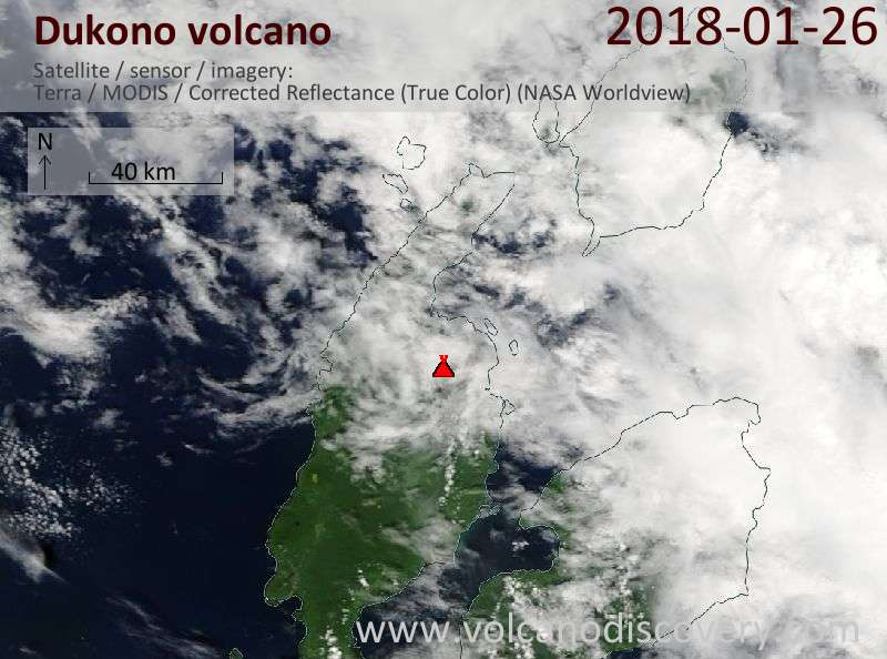 Satellite image of Dukono volcano on 26 Jan 2018