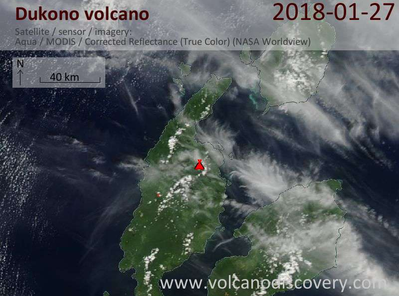 Satellite image of Dukono volcano on 27 Jan 2018