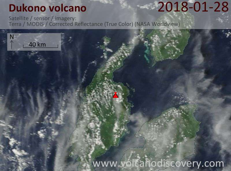 Satellite image of Dukono volcano on 28 Jan 2018