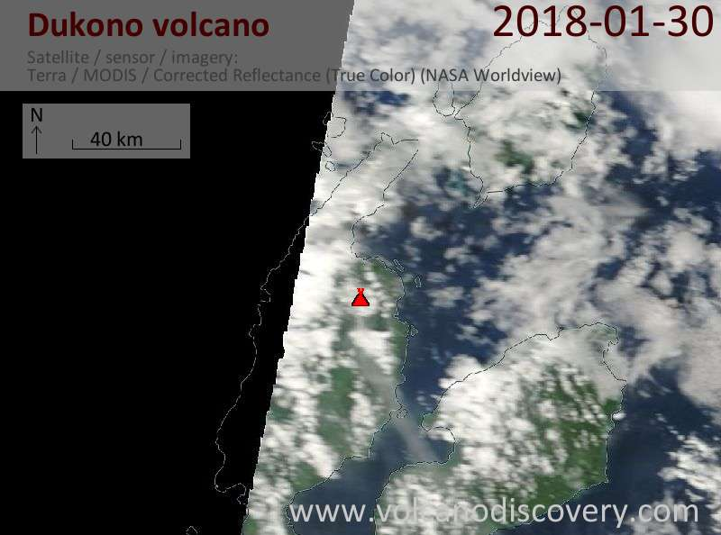 Satellite image of Dukono volcano on 30 Jan 2018