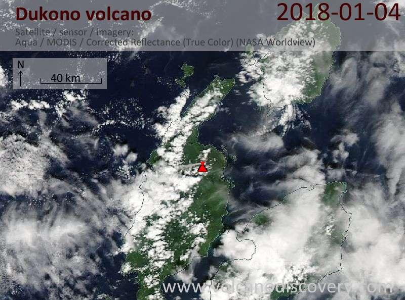 Satellite image of Dukono volcano on  4 Jan 2018
