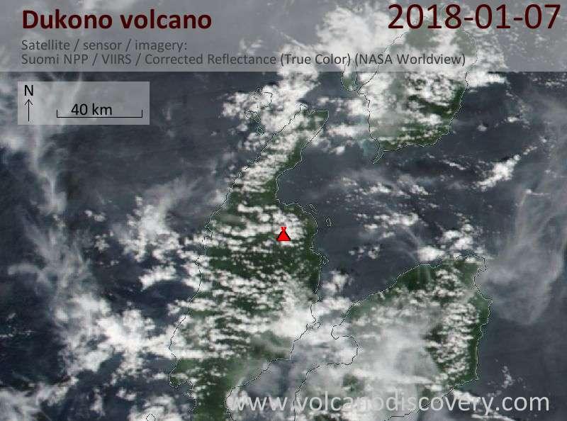 Satellite image of Dukono volcano on  7 Jan 2018