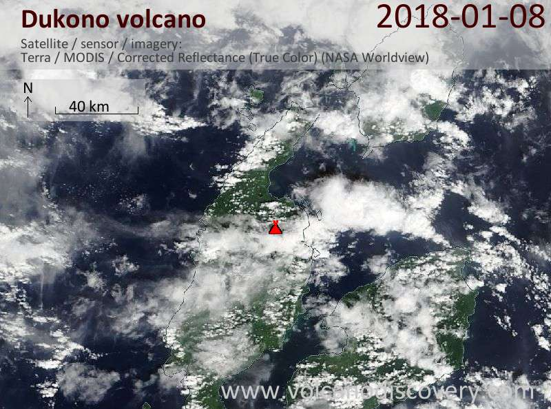 Satellite image of Dukono volcano on  8 Jan 2018