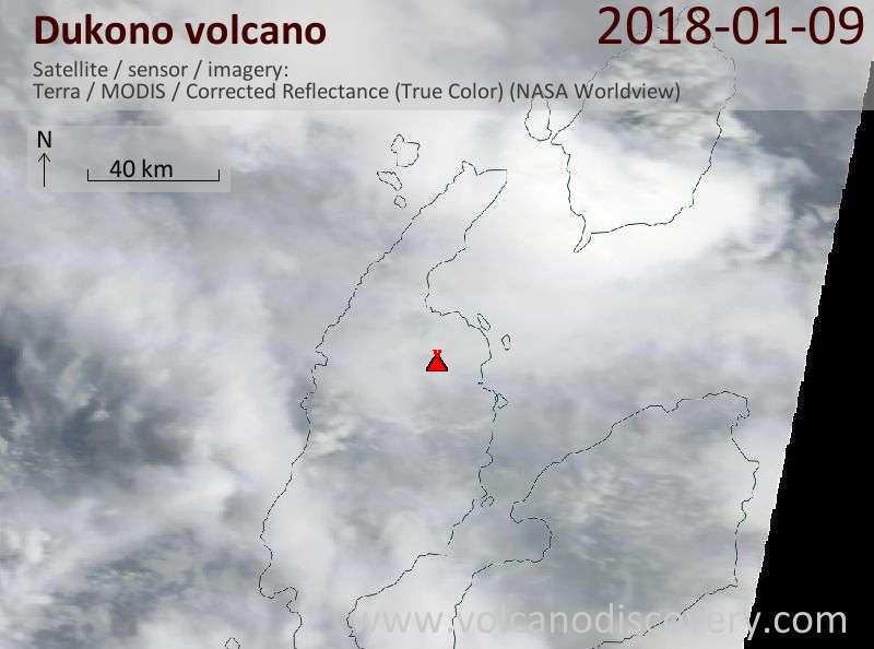 Satellite image of Dukono volcano on  9 Jan 2018
