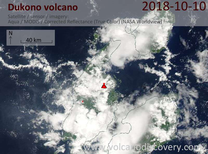 Satellite image of Dukono volcano on 10 Oct 2018